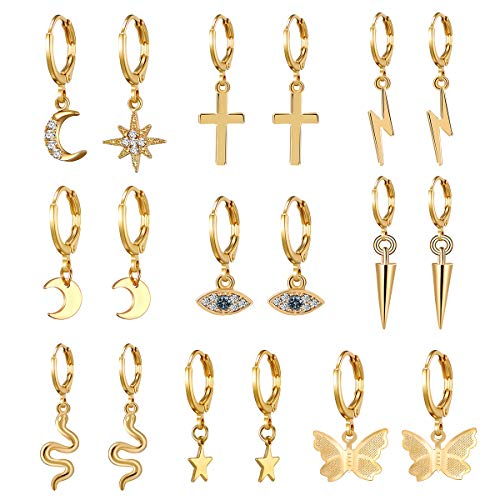 AIDSOTOU 9 Pairs Small Gold Butterfly Star Hoop Earrings Set for Women Girls Mini Huggie Hoop Earrings with Dangle Charms