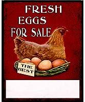 販売のための新鮮な卵、ブリキのサインヴィンテージ面白い生き物鉄の絵画金属板ノベルティ