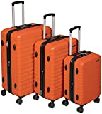 Amazon Basics Valise de Voyage à Roulettes Pivotantes, Orange Brûlé, Lot de 3 Valises (55 cm, 68...
