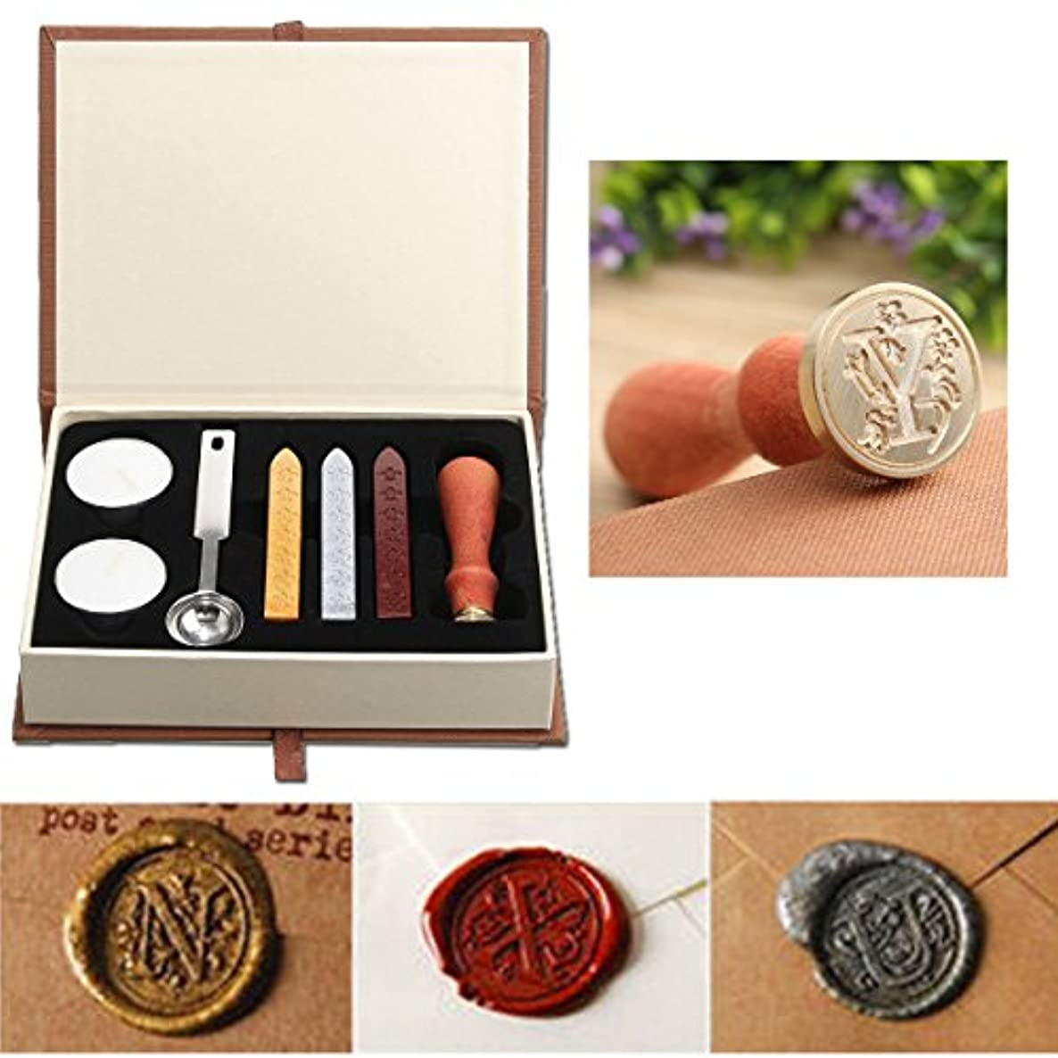 Seal Wax Kit,PUQU Vintage Initial Letters A-Z Alphabet Wax Badge Seal Stamp Kit Wax Set Tool Gift(Y)