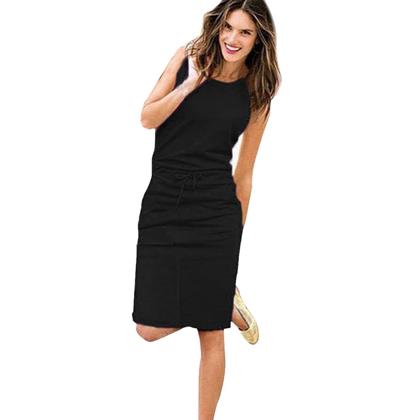 Women's Casual Solid Bodycon Round Neck Sleeveless Drawstring Waist Knee Length Midi Dress