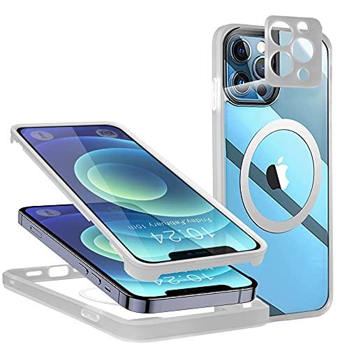 Neeliup 360 Funda para iPhone 12 Pro MAX - Transparente & Magnetico MagSafe Carcasa con Protector de Pantalla Incorporado y Protector de Lentes de Cámar Compatible con iPhone 12 Pro MAX Cover 🔥