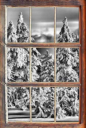 KAIASH 3D Wandsticker Monocrome Winterwald Fenster im 3D Look Wand oder Türaufkleber Wandsticker Wandtattoo Wanddekoration 92x62cm