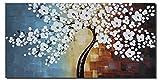 Wieco ArtBlooming Life Ölgemälde auf Leinwand, modern, groß, gespannt und gerahmt, handgemalt, Motiv mit weißen Blumen, kann direkt aufgehangen werden