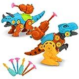 EKKONG Dinosaurios Juguetes, Juguetes de Montaje de Dinosaurios, 2 Packs Incluyen Tiranosaurio Rex y Triceratops, con Destornillador, Juguetes Educativos Regalos para Niños y Niñas