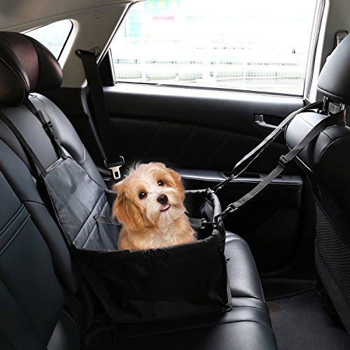 Ducomi DogSit - Seggiolino Auto per Cane - Coprisedile Singolo per Cani di Piccola e Media Taglia - Telo Impermeabile per Proteggere i Sedili della Vettura - Dotato di Cinghie di Sicurezza (Black)