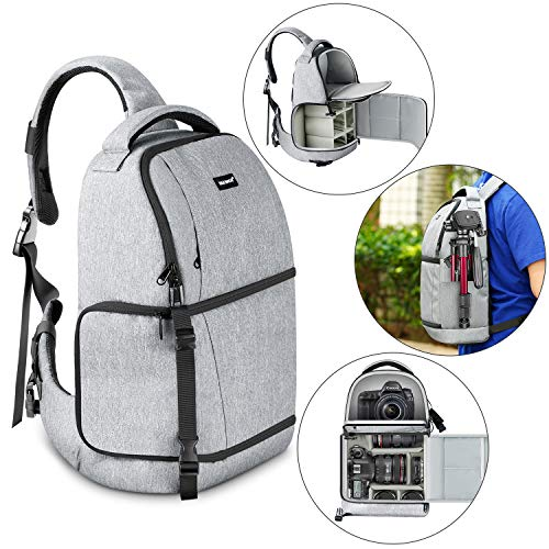 Neewer Sling Camera Bag - Camera Case Backpack with Padded Dividers for DSLR and Mirrorless Cameras (Nikon, Canon, Sony Pentax Olympus etc.), Lens, Tripods and Other Accessories, Gray