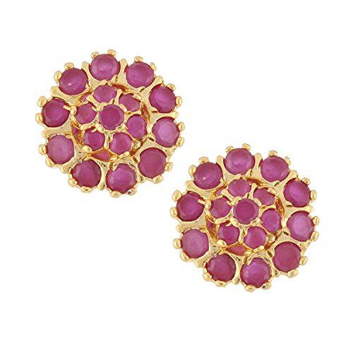 Ethnadore Indian Bollywood Designer 18 k Gold Plated Traditional CZ Stud Earrings Jewelry for Women and Girls pink