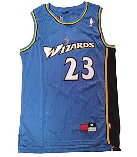 YXST Camiseta de Baloncesto Magos # 23 Malla Bordada de PoliéSter Top,Transpirable Chaleco de Secado RáPido para JóVenes Sudadera,Blue,S