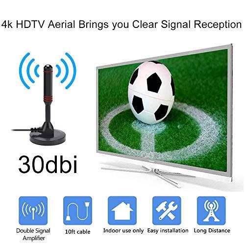 Rpanle Antenne TV Intérieur Puissante, Antenne Tige Numérique DVB-T, DVB-T2, DTMB, Antenne TNT Portable avec Pied Magnétique Stable et Câble de 5 mètres Grande Puissance de Réception Gain de 30 dBi
