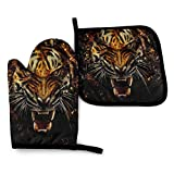 UXZTU juegos de guantes de cocina y agarraderas Oven Mitts and Pot Holders Sets Heat Resistant Oven BBQ Gloves Ferocious Tiger Kitchen Mitts for Safe BBQ Cooking Baking Grilling Ferocious Tiger