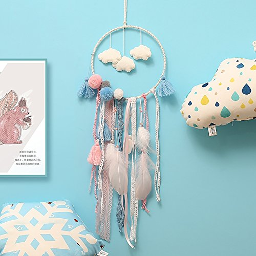 Moresave Traumfänger Mit Eulenfedern, Handgemachte Doppel Ringe Dream Catcher für Hochzeit Home Wandbehang Dekor