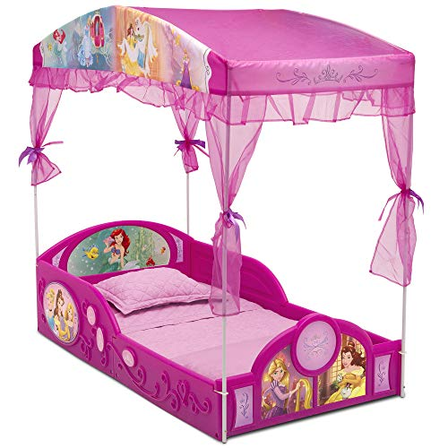 Delta Children Disney Princess Plastic Sleep and Play Toddler Bed with Canopy