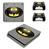 Funky Planet Playstation 4 Slim PS4 SLIM Adesivi per pelli in PVC per console e pastiglie - Ridimensionare il tuo PS4 Slim (batman)