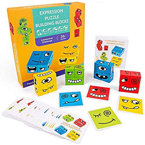 AIWEI Jouets Éducatifs Jouets en Bois avec des Visages Changeants, des Jeux de Cube Géométrique, des Puzzles D'empilement pour Les Enfants Âgés de 2 à 4 Ans