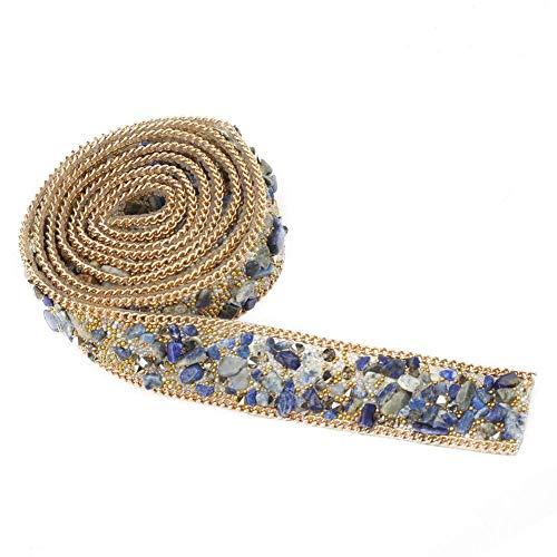 Crystal Beaded Ribbon Rhinestone Diamond Ribbon Roll Iron en parche para vestidos de baile Cinturón Apliques Ropa Bolsa Zapatos Boda Fiesta Decoración(Cuentas de arroz azul + oro + cadena de oro)