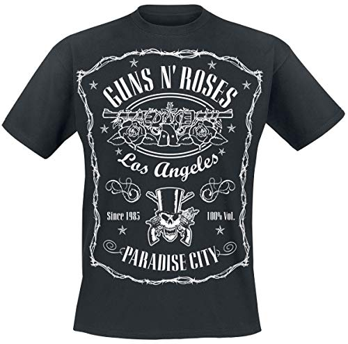 Guns N Roses Paradise City Label Männer T-Shirt schwarz M 100% Baumwolle Band-Merch, Bands