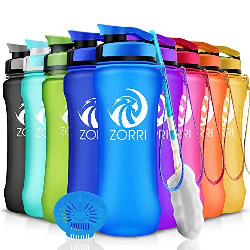 ZORRI Sport Trinkflasche auslaufsicher, BPA Frei & Umweltfreundlich Wasserflasche Für Kinder & Frauen, One Handed Open & Tritan, Für Gym/Outdoor/Camping - Blau - 600ml