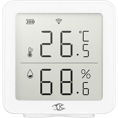 Galapare Detector de Temperatura y Humedad, Tuya Wireless Termómetro Higrómetro Digital para el hogar Sensor inalámbrico de Temperatura y Humedad Equipo de conexión Inteligente Compatible con Alexa