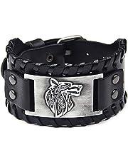 Thajaling Zwarte Brede Lederen Armband Antiek Zilver Wolf Hoofd Patroon Bangle Polsbandjes Vintage Manchet