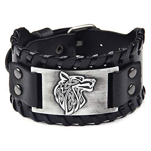 Thajaling Pulsera de cuero negro de plata envejecida cabeza de lobo patrón pulseras vintage brazalete
