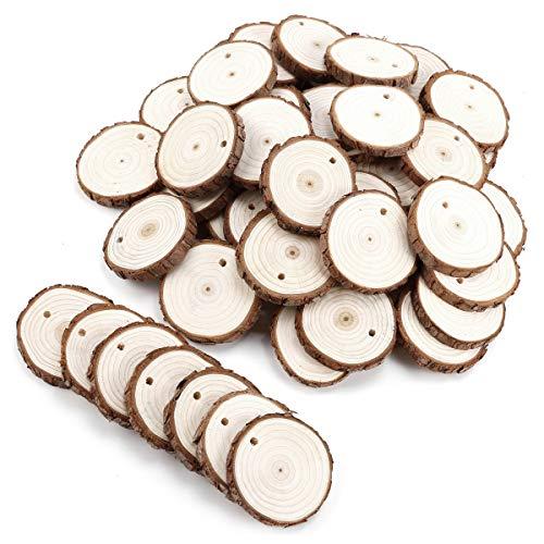 Surepromise 50 Stück Holzscheiben zum basteln mit Loch, Holz Log Scheiben 5-6 cm Rund für DIY Handwerk Hochzeit Mittelstücke Weihnachten Dekoration