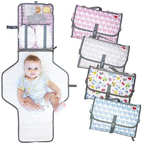 Cambiador portátil plegable de viaje, nuevo modelo 2020, bolso cambiador para pañal colchón y cojín, apto para bebés y niños con portabiberones térmico incluido (Rosa)