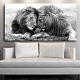 Impresión en lienzo Blanco y negro Pareja León Póster Pintura en lienzo Animales salvajes Imágenes Arte de la pared Cuadros para el hogar Carteles de sala de estar 70x140cm / 27.6 'x55.1' Sin marco