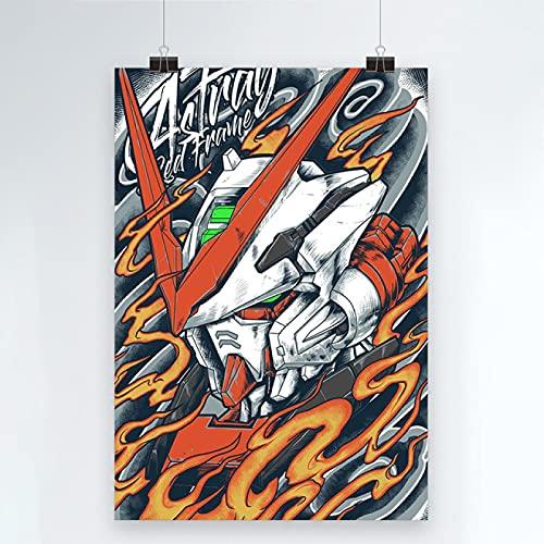 Yiwuyishi Impresión en Lienzo Gundam Warrior Poster Decoración del hogar Mecha Pintura Imagen de Arte de Pared Papel de Anime japonés para Sala de Estar 50x70cm P-806