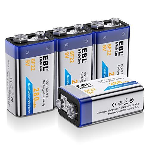 EBL 280mAh 9V Block Akku NI-MH Wiederaufladbare Batterie mit Aufbewahrungsbox 4 Stück