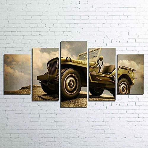 KOPASD Coche Wrangler Retro 5 Panel Lámina del Paisaje del Arte impresión en Lona Cuadros de la Pared de la Foto,para el hogar decoración Moderna impresión