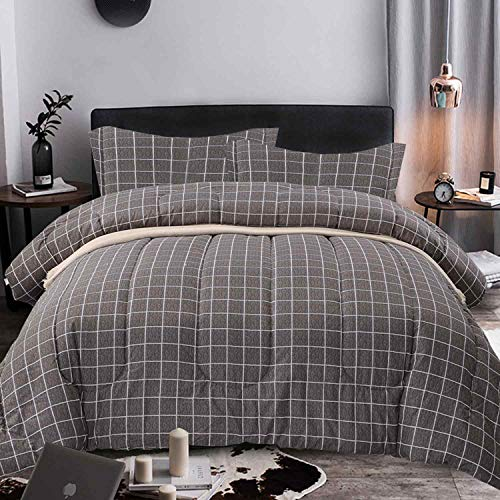 NANKO Comforter Set Queen Size, Grey Grid Print 88 x 90 inch Reversible Down Alternative Comforter Microfiber Duvet Sets (1 Comforter + 2 Pillow) Best Modern Bedding for Women Men, Gray Plaid