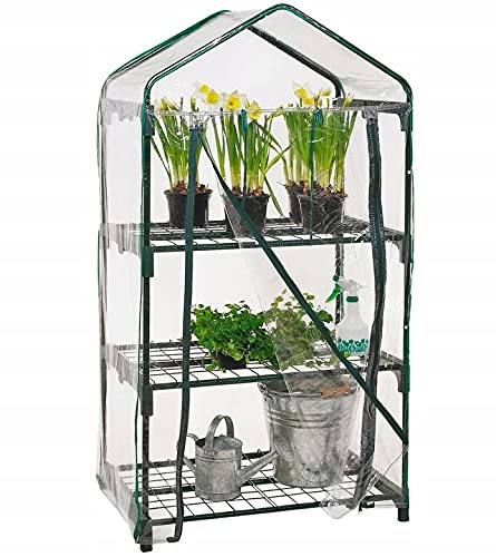 Invernadero de protección invernal sobre ruedas, 69 x 49 x 125 cm, 3 pisos, mini invernadero para balcón, invernadero, estantería interior, tomates, balcón, pequeño