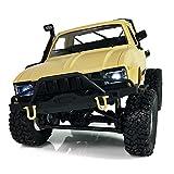 TOOGOO WPL C14 1:16 Escala 2.4G 2CH 4WD Mini Semirremolque Todoterreno RC RTR Camion de Escalar de ninos Amarillo