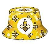 Sombrero de Cubo de Panal de Miel Amarillo de Abeja de Dibujos Animados, Sombreros de Sol de Pescador Divertidos y Bonitos para Montar, Escalar, Senderismo