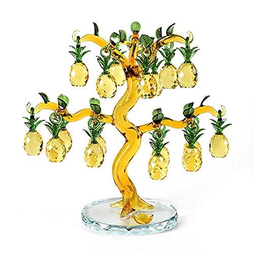 MSYL Árbol de piña de cristal suerte Feng Shui rueda vino gabinete estantería sala decoración adornos apertura boda regalos artesanía