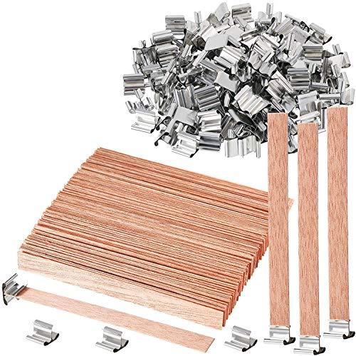 100 mechas de madera sin humo, naturales respetuosos con el medio ambiente, con mechas de vela y herramienta de centrado de velas para hacer velas y manualidades (13 x 1,3 cm)