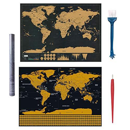 Scratch World Map,2 piezas Scratch the World Travel Map Pegatinas de pared Mapa de Scratch Mapa decorativo Mapa del mundo con fondo de colores kits de accesorios para regalo de viajeros