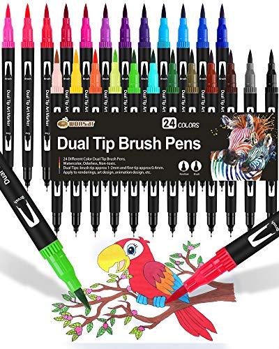 24 Stylo Aquarelle Feutre Coloriage Pinceaux Brush Pen Marqueur pour Feutres Coloriage Adulte et Enfant, Bullet Journal, Dessin, Peinture, Mandala, Pointe Pinceau [1-2 mm] et Pointe Fine[0.4 mm]