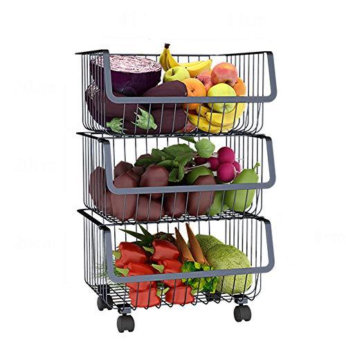 Xiaojie Yuzhijie black kitchen rack household floor multi-layer storage rack vegetable rack vegetable rack basket, B