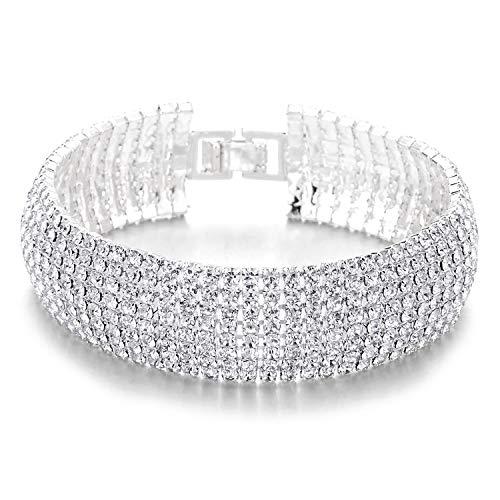 COOLSTEELANDBEYOND Funkelnd Damen Kristall Strass Cluster Breiten Armband Bettelarmband, Luxus