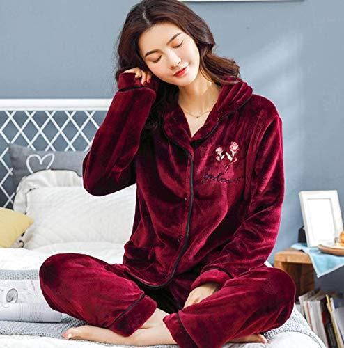 Pijamas Para Mujer,Invierno Cálido Franela Conjuntos De Pijamas Para Mujer Carta Bordado De Rosas Rojo Vino Grueso Coral Terciopelo Manga Larga Ropa De Dormir Camisón Conjunto De Pijama Para Niña