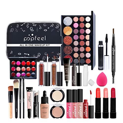 LEAMALLS 26 Piezas Estuches Juego de Maquillaje Completo Kit de Cosmético todo en uno Regalo Maquillaje Sombra de Ojos Paleta para Ojos Labios y Rostro Professional Makeup