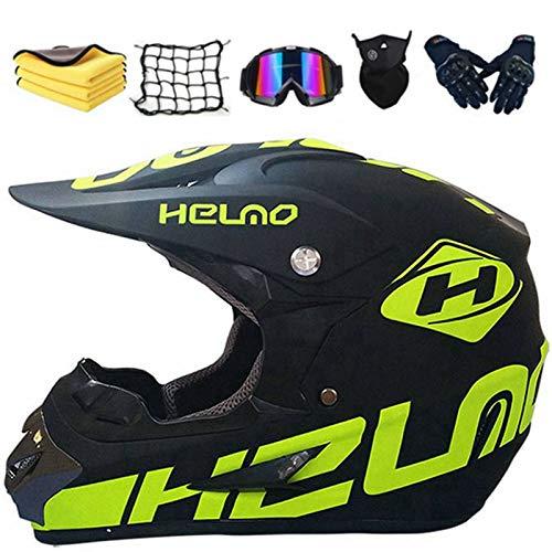 Casco de motocross para niños, casco de motocross Fullface para adulto, casco integral con guantes, gafas, máscara, red elástica (XL)