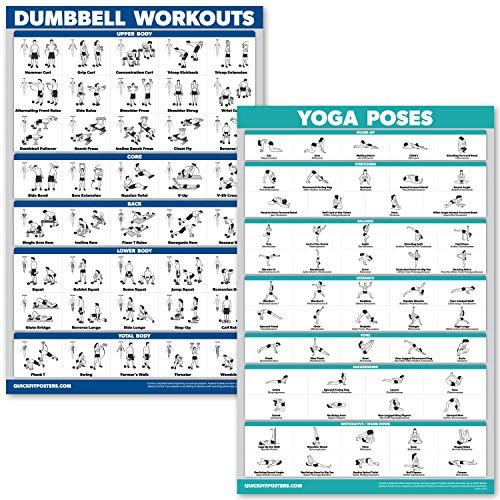 QuickFit Kurzhantel-Übungen und Yoga-Posen Set – laminiertes 2-Diagramm-Set – Kurzhantel-Übungen & Yoga-Positionen, Laminated, 18