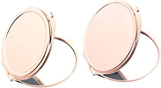 Blesiya 2 Pieces Portable Pocket Mirror Compact Makeup Cosmetic Fashion Vanity Mirrors