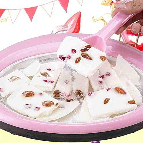 raspbery Roll EIS Teppanyaki Platte Ice Cream Rolls Grill Maschine Runden Kalt Gefrorener Joghurt Teller Mit 2 Spateln Mischpaddel Frozen Yogurt Snack Für Kinder Party Küche 30x22cm