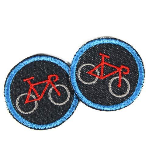 Fahrrad Flicken zum aufbügeln mini Patches Set 2 Bügelflicken Velo Applikation ø 5cm Aufbügler in rot blau organic Denim Jeansflicken Aufnäher bio