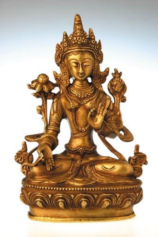Deko Figur Weie Tara Buddha Figur, Figur aus Messing massiv, Hhe 20 cm gro, eine der 21 Taras Dlma Statue weiblicher Buddha auf Lotusthron