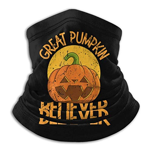 Overlooked Shop Pasamontañas Vintage Great Pumpkin Believer Halloween Horror Mascarilla para el Cuello Polaina para el Cuello Pasamontañas Multifuncional Bandana al Aire Libre